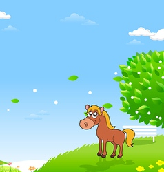 Horses in the field vector