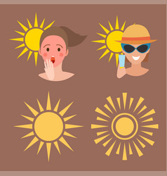 human avatar woman degree of sunburn beach vector image
