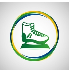 ice skater sport badge icon vector image