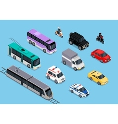 Isometric 3d Transport Set Flat Design vector