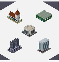 Isometric construction set of office warehouse vector