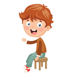kid sitting on chair vector image