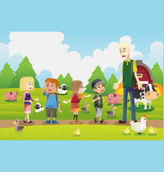 kids on a field trip to a farm vector image