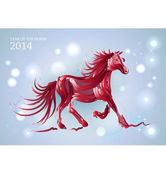 lights and stars chinese new year horse 2014 vector image