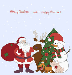 merry christmas and happy new year cartoon vector image