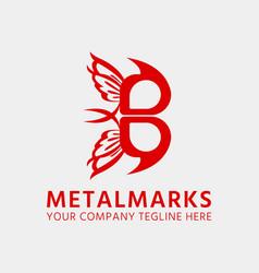Metalmarks butterfly b letter logo design template vector