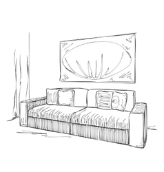 Modern interior room sketch Hand drawn sofa vector
