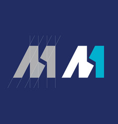 modern professional monogram m one in white vector image