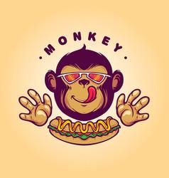 Monkey logo hotdog food vector