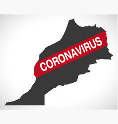 Morocco map with coronavirus warning vector
