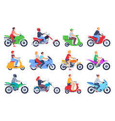 motorcycle riders men and women drivers in helmet vector image