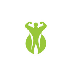 muscle green leaf healthy food athlete logo vector image