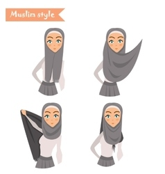 Muslim woman wears hijab vector image