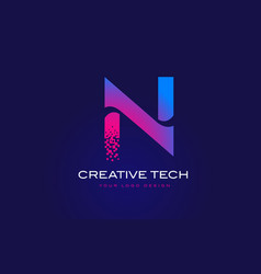 N initial letter logo design with digital pixels vector