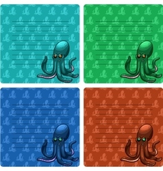 Octopuses card with lines vector