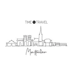 one continuous line drawing montpellier city vector image
