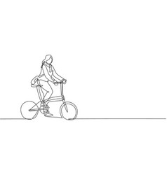 one single line drawing young happy startup vector image