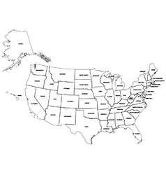 Outline map American states vector image