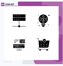 Pack 4 modern solid glyphs signs and symbols vector