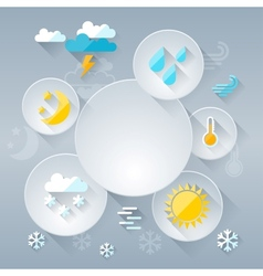 Paper circle banner with weather icons in flat vector image