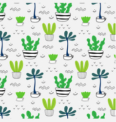 pattern with hand drawn plants in pots vector image