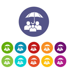 people protection icons set color vector image