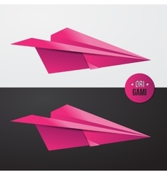 Pink origamy Paper airplane illsutration vector image vector image