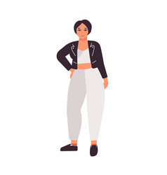 Plus size dark haired girl flat vector