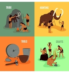Prehistoric Stone Age 2x2 Images vector