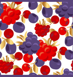 raspberry and cranberry seamless pattern vector image