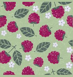 raspberry leaves flowers seamless pattern vector image