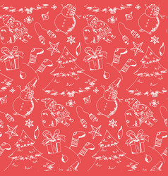 red pattern with hand drawn christmas elements vector image