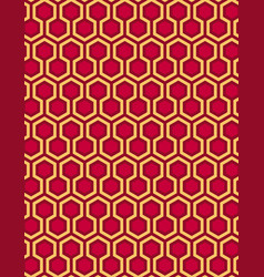 Red seamless hexagon pattern style background vector