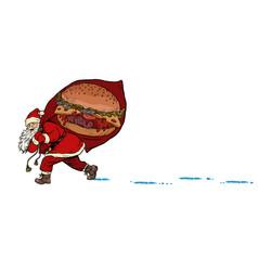 santa with a burger fast food christmas and new vector image