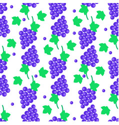 Seamless pattern with grapes bundles and leaves vector