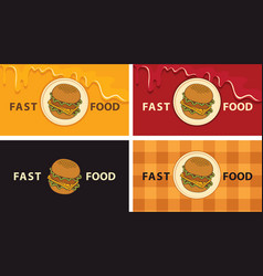 set business cards with a tasty cheeseburgers vector image