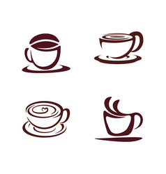 set coffee icon logo concept template cup with vector image