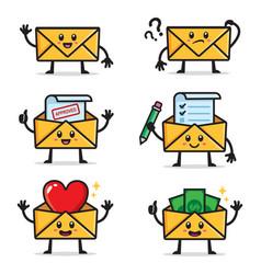 set envelopes character design vector image