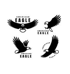 set logos american eagle in flight vector image