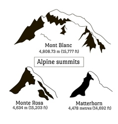 Set of Alps peaks silhouette elements Mont Blanc vector