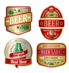 Set of bright beer labels different shapes vector