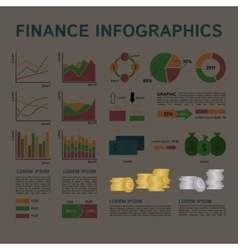 Set of Financial Infographics Elements Arranged in vector image