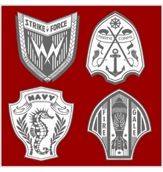 Set of military and armed forces badges labels vector image