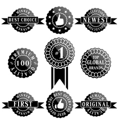 set premium quality and winner labels vector image