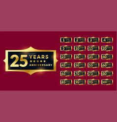 Shiny golden anniversary labels or emblems set vector