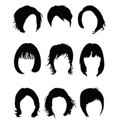 silhouettes of hair styling vector image