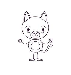 Sketch silhouette caricature of cute cat vector