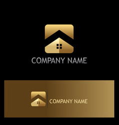 Square roof home gold company logo vector