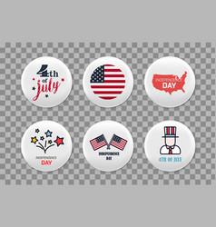 steel round badges set patriotic brooch 4th vector image