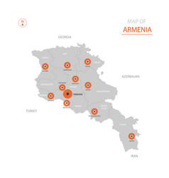 stylized armenia map showing big cities capital vector image